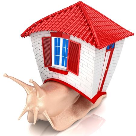 babosa: 3D Caracol con la casa pequeña. Aislado en el fondo blanco. Procesamiento 3D. Foto de archivo