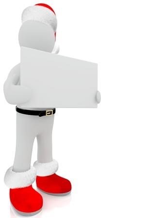 3D Santa Claus puppet on white background. photo