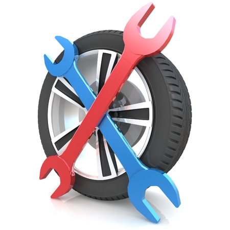 alloy wheel: Car service concept. Wheel and Tools. Isolated 3D image