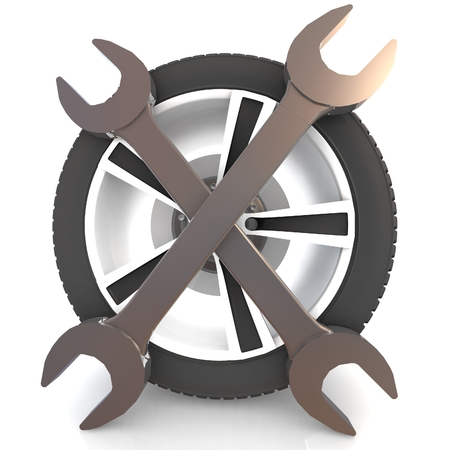 vulcanize: Car service concept. Wheel and Tools. Isolated 3D image