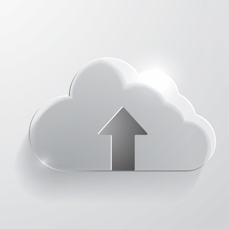 synchronization: Upload cloud glass icon.
