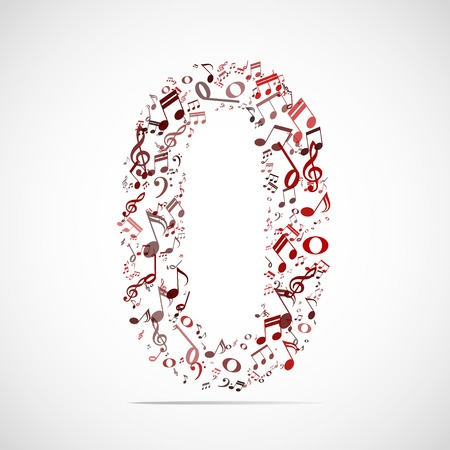 Vector number zero made from music notes.