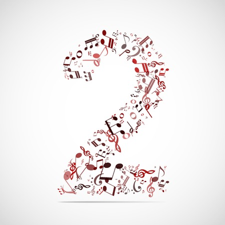 Vector number two made from music notes. Vector