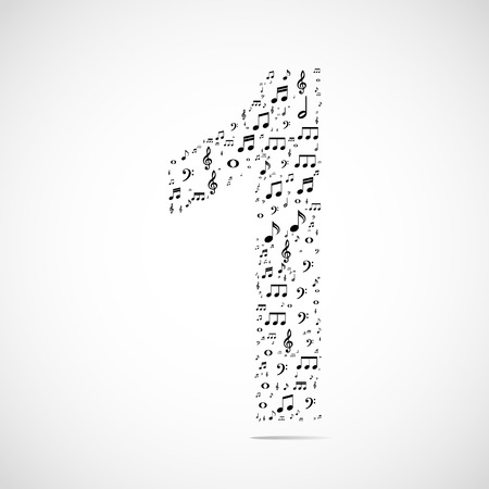 Vector number one made from music notes.