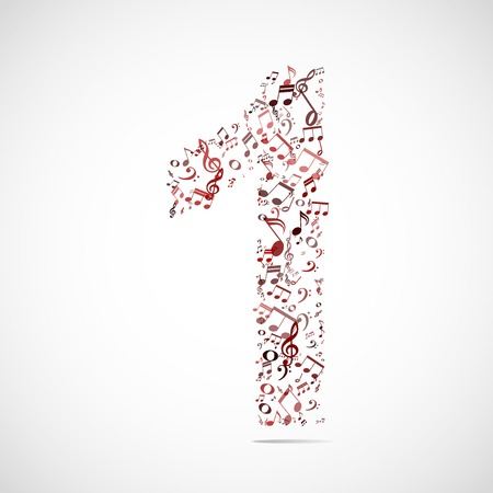 numbers abstract: Vector number one made from music notes.