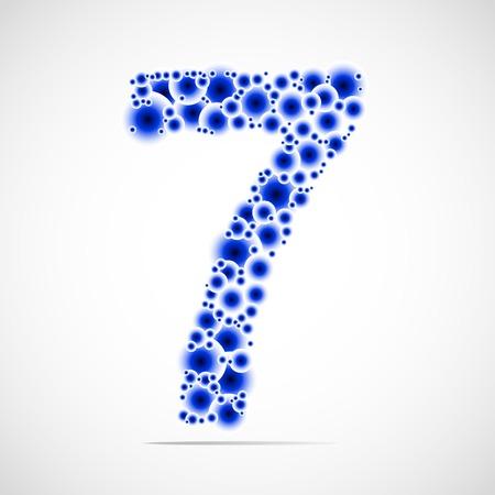 trigram: Vector number seven made from balls. Illustration