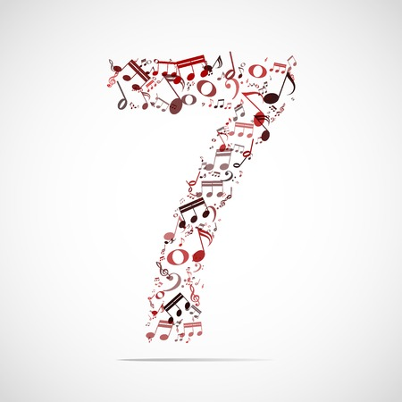 Vector number seven made from music notes. Vector