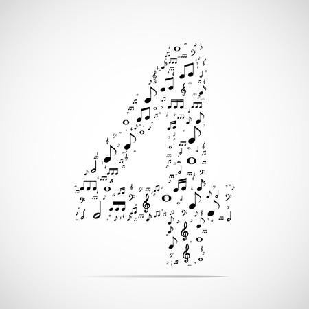 cijfer vier: Vector nummer vier gemaakt van muzieknoten.