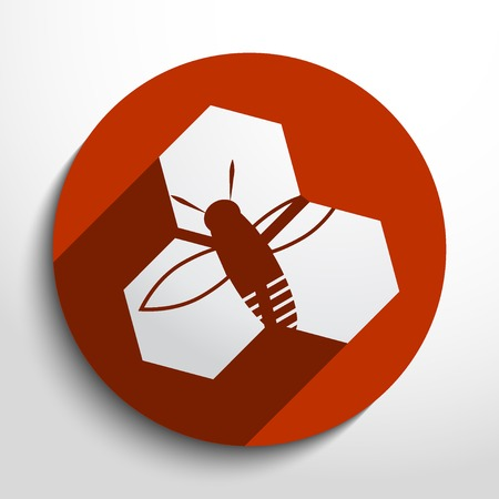 honey cells web flat icon in circle