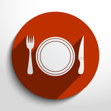 Vector disware and cutlery web flat icon in circle