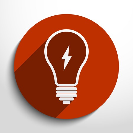 focos de luz: Icono de la bombilla en el círculo, diseño plano