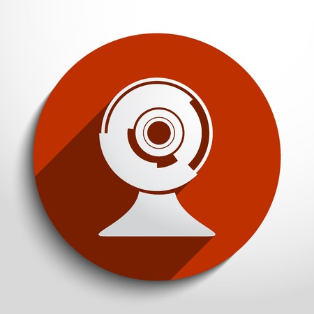 web cam flat icon in circle Vector