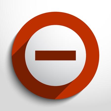 minus web flat icon in circle