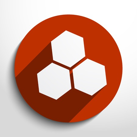 Vector honey cells web flat icon in circle