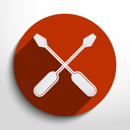 rework: screwdrivers web flat icon in circle