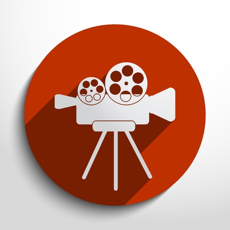 camera web icon in circle, flat design Illustration