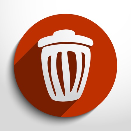 refuse: trash can web flat icon in circle
