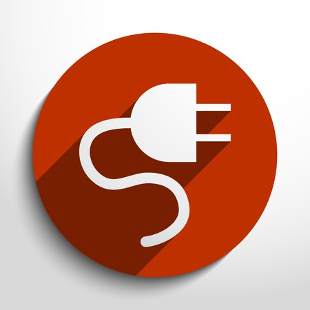 Vector electrical plug web flat icon in circle