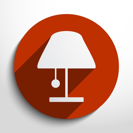 bedside: lamp web flat icon in circle Illustration
