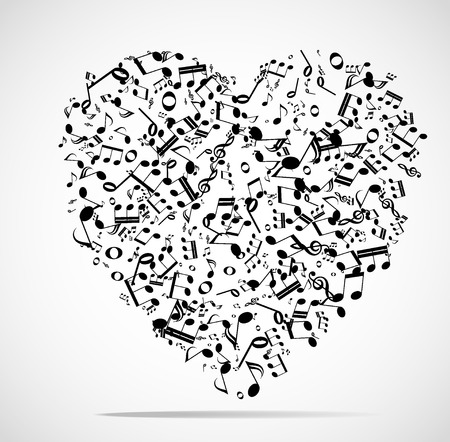 Abstract musical heart background illustration.