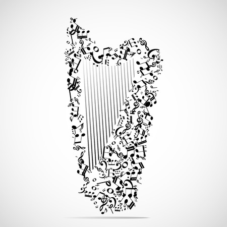 celts: Abstract musical instrument background illustration. Illustration