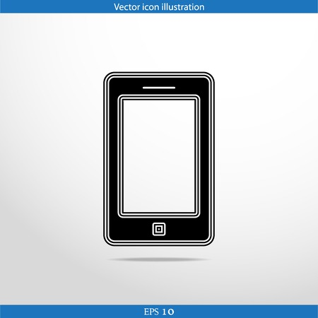 get in touch: Vector smart phone web flat icon. Isolated on white.