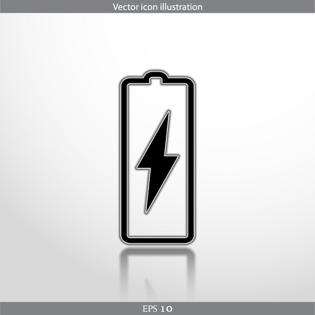Vector battery web flat icon. Isolated on white.
