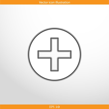 additional: Vector plus web flat icon. Isolated on white.