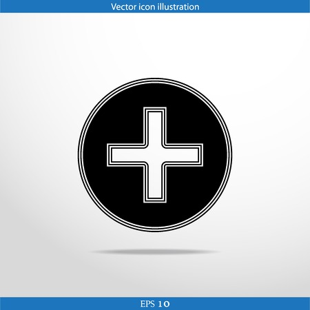cross bar: Vector plus web flat icon. Isolated on white.