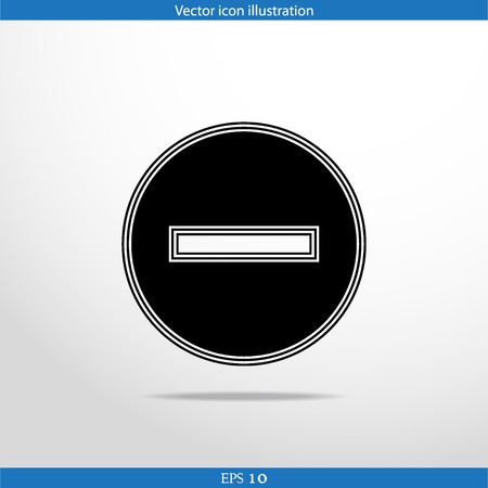 Vector minus web flat icon. Isolated on white.