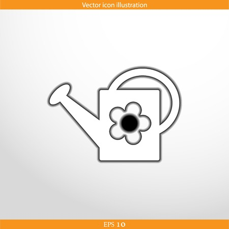 bailer: Vector watering can web flat icon. Isolated on white.