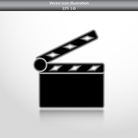 clapperboard: Vector clapperboard web flat icon in circle Illustration