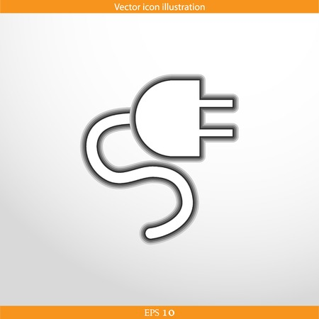 electrical plug: Vector electrical plug web flat icon in circle