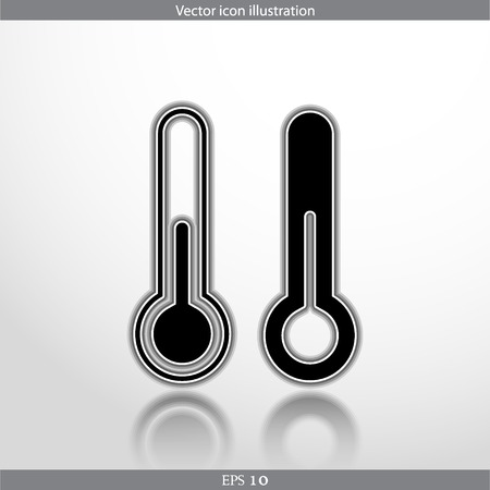 Vector thermometer web flat icon in circle Vector