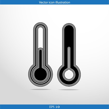 volumetric flask: Vector thermometer web flat icon in circle Illustration
