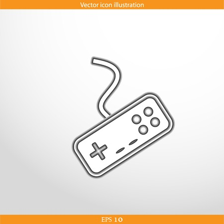 portable console: Vector joystick web flat icon in circle