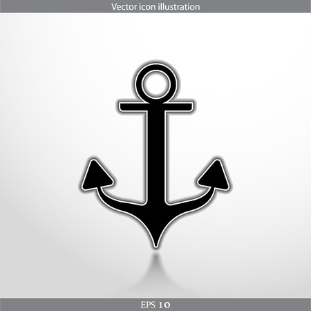 Vector anchor web flat icon. Isolated on white.