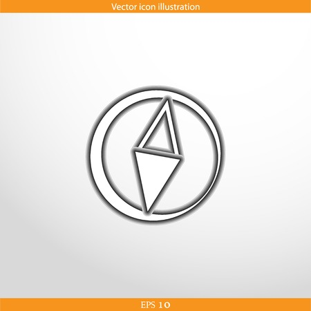 Vector compass web flat icon. Isolated on white. Illustration