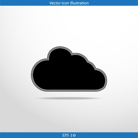 Vector cloud web flat icon. Isolated on white. Vector