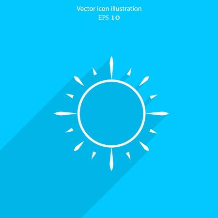 beam with joy: Vector sun web flat icon. Eps 10 illustration. Weather background.