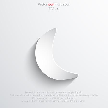 glass half full: Vector half moon web flat icon. Eps 10 illustration. Weather background.