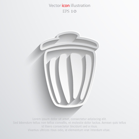 Vector trash can web flat icon. Eps 10 illustration.