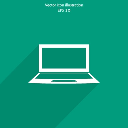 Vector laptop web flat icon. Eps 10 illustration. Illustration