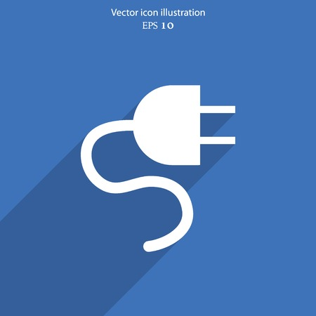 Vector electrical plug web flat icon. Eps 10 illustration. Illustration