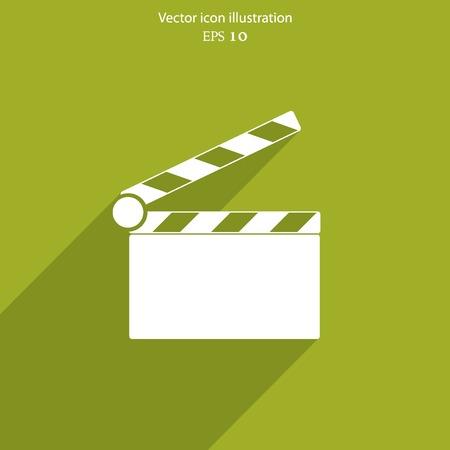 clapperboard: Vector clapperboard web flat icon. Eps 10 illustration. Illustration