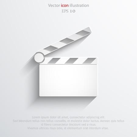 Vector clapperboard web flat icon. Eps 10 illustration.  イラスト・ベクター素材