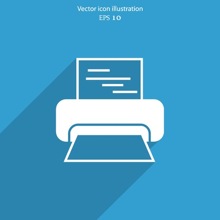 Vector printer web flat icon. Eps 10 illustration.