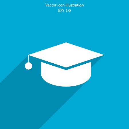 cap: Vector academic cap web flat icon. Eps 10 illustration.