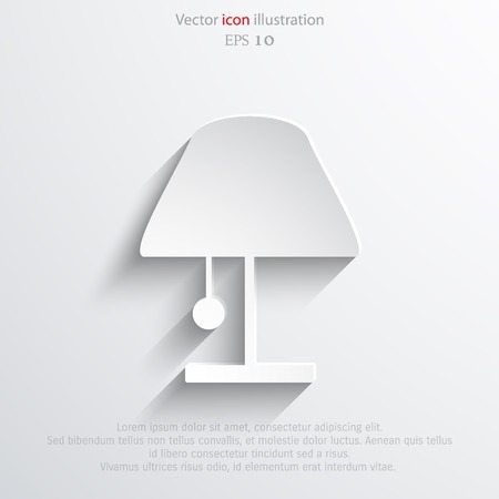 Vector lamp web flat icon. Eps 10 illustration.