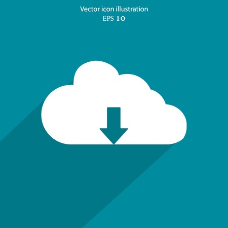 download cloud: Download cloud flat icon. Eps 10 vector illustration.
